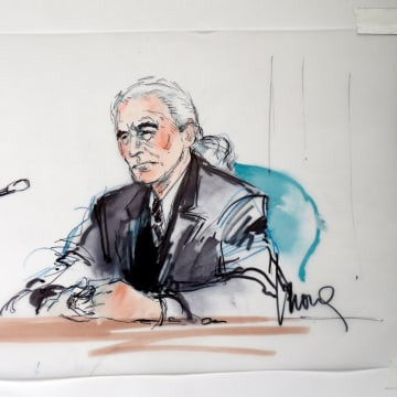 "Image: Led Zeppelin guitarist Page is shown sitting in federal court for a hearing in a lawsuit involving their rock classic song ""Stairway to Heaven"" in this courtroom sketch in Los Angeles"