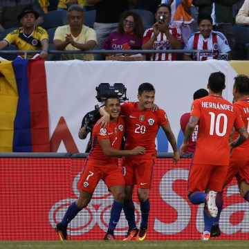 Chile's players celebrate a goal against Colombia during a Copa America Centenario semifinal
