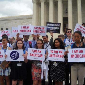 Demonstrators at the U.S. Supreme Court in Washington, D.C. on June 23, 2016