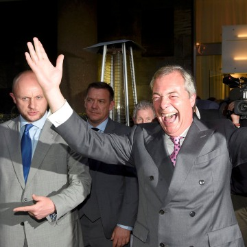 Image: Nigel Farage, the leader of the United Kingdom Independence Party (UKIP), reacts at a Leave.eu party after polling stations closed in the Referendum on the European Union in London