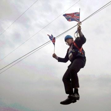 Image: Boris Johnson dangles in the air on Aug. 1, 2012
