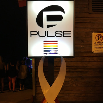 Outside of the Pulse night club fundraiser in the Thornton Park District of Orlando, Florida.