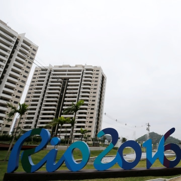 Image: A view of the Olympic Village during a media visit, in Rio de Janeiro