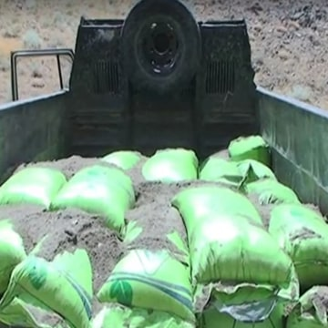 Images: Bags of explosives on a truck
