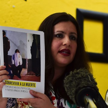 "Erika Guevara-Rosas, director for the Americas of International Amnesty speaks during the presentation of the report  ""Survive to the death"" on torture to women in jails of Mexico"