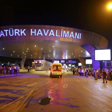 Image: Ambulance cars arrive at Turkey's largest airport, Istanbul Ataturk