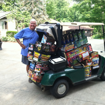 Golf cart of fireworks