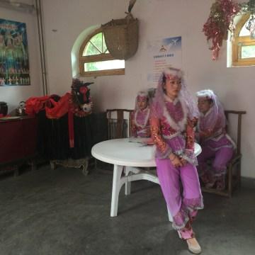 Image: Hui dancers before a performance at China Hui Culture Park