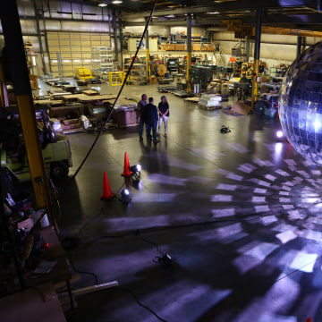 Image: Louisville paid tribute to its history as the disco ball capital of the world by creating an 11-foot-wide version