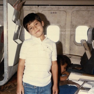 Mariano Castillo boarding a flight from Peru to Houston in 1986.