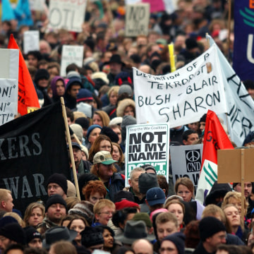 Image: Thousands of people at a London anti-war protest in 2003