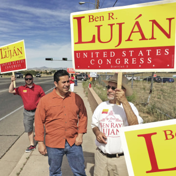 Image: Ben Ray Lujan campaigns for Congress in June 2014
