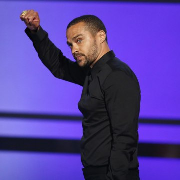 Image: Jesse Williams accepts the humanitarian award at the BET Awards