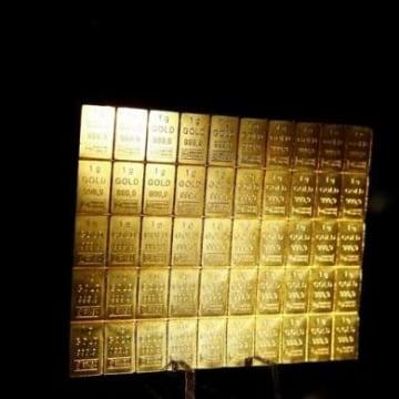 One-gram gold bars are displayed at the annual meeting of German Sparkasse savings banks in Duesseldorf