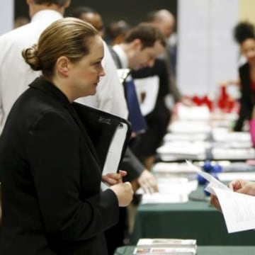 "Job applicant Rose is interviewed at a ""Hiring Our Heroes"" military job fair in Washington"