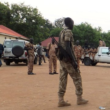 Image: Soldiers are seen following renewed fighting in South Sudan's capital of Juba on Sunday