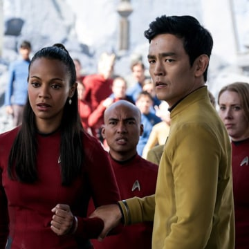 "Image: John Cho and Zoe Saldana in ""Star Trek Beyond"""