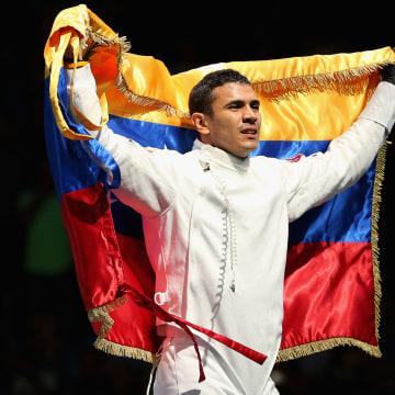 Ruben Limardo Gascon of Venezuela celebrates victory