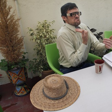 In this  June 30, 2016 photo, American craftsman Ronald James Wooden pauses during an interview in Mexico City.