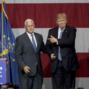 Image: FILE - Donald Trump Announces Mike Pence as Vice Presidential Choice Donald Trump Holds Campaign Rally In Indiana