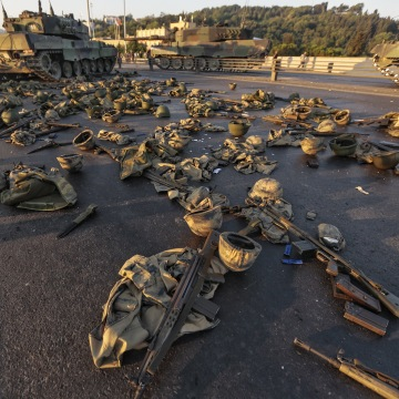 Image: Soldiers' uniforms and weapons on ground in Istanbul, Turkey