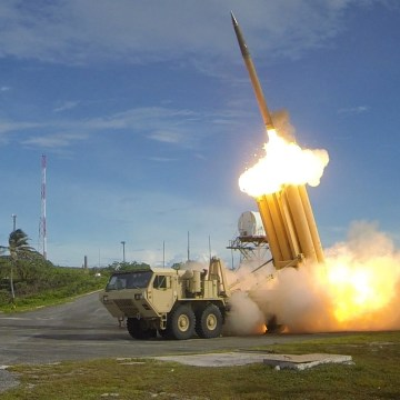 Image: THAAD interceptors and a missile tested in 2013