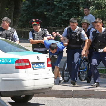 Image: Attack on police station in Almaty