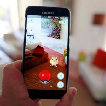"""Illustration of the augmented reality mobile game """"Pokemon Go"""""""