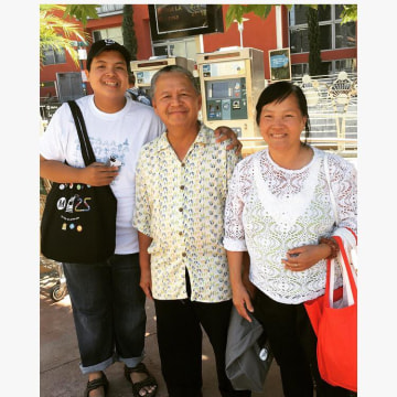 Kenny Uong with his parents at the Del Mar Station in Pasadena, Calif, July 2016.