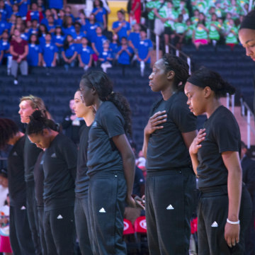 WNBA players protest.