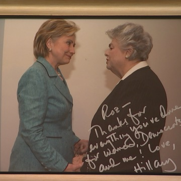 IMAGE: Hillary Clinton and Roz Wyman in a signed photo