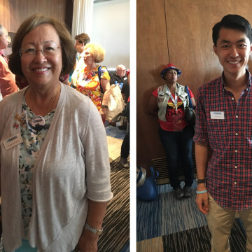 Suchada (Sue) Langley (left) and Steven Yeung (right) arrive in Philadelphia for the 2016 Democratic National Convention, Sunday, July 24, 2016. Langley and Yeung are delegates from Virginia.