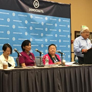 Jadine Nielsen, Rep. Judy Chu, and Rep. Mike Honda at the AAPI Caucus meeting, DNC 2016