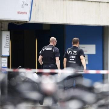 Image: Police outside the hospital