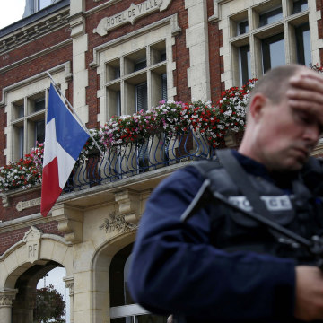 Image: A police officer in Saint-Etienne-du-Rouvray, France