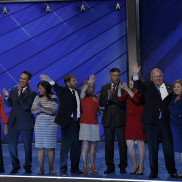 Image: Members of the Congressional Hispanic Caucus stand ontage at the Democratic National Convention in Philadelphia