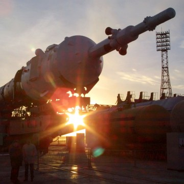 Image: The Soyuz-TMA rocket sits on its launch pad at the Baikonur cosmodrome in Kazakhstan