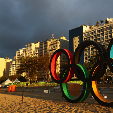 Image: The official Olympic Rings at the Copacabana Beach
