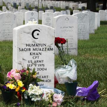 Image: Grave marker for U.S. Army Captain Humayun Saqib Muazzam Khan