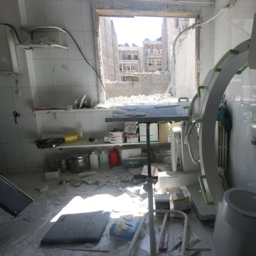 Image: A view shows the damage inside a field hospital after airstrikes in a rebel held area of Aleppo