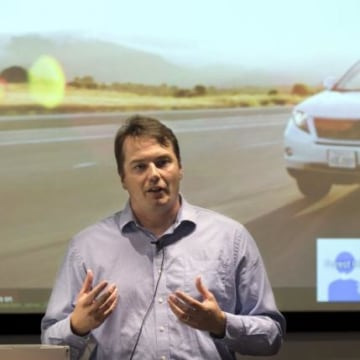 Chris Urmson, Director of the Self Driving Cars Project at Google, speaks to the media during a preview of Google's prototype autonomous vehicles in Mountain View, California