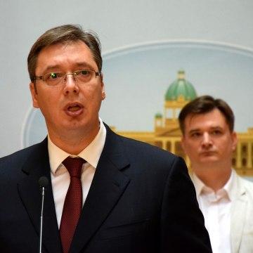 Serbian PM Vucic press conference in Belgrade