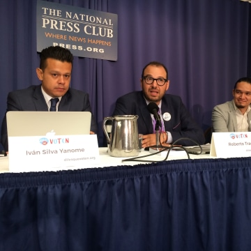 Panel speaks at the National Press Club about voter registration campaigns.