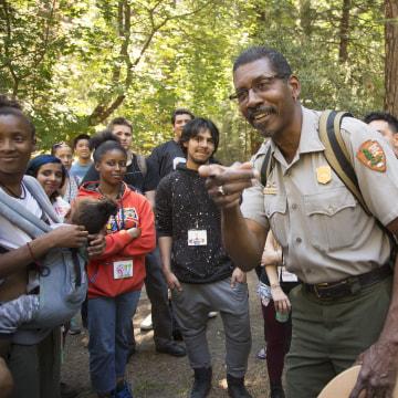 Image: Ranger Shelton Johnson welcomes high school students into Yosemite National Park