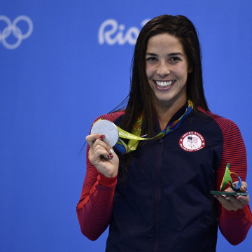 Team USA Madeline Maya Dirado poses with her silver meda