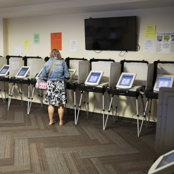 Image: A voter casts her ballot at a polling site in Atlanta