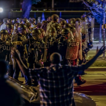 Image: Police moved in on a group of protesters in Milwaukee
