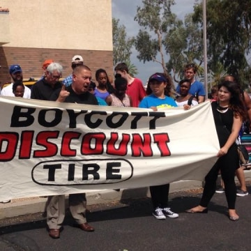 Latino advocates announced a boycott of Discount Tire
