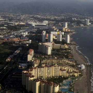 An aerial view from an aeroplane shows Puerto Vallarta in Mexico