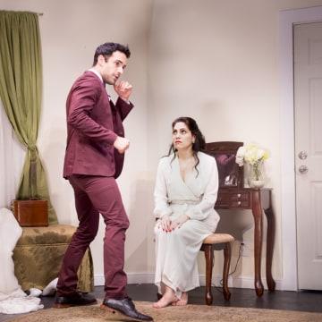 James Padric (Jake) helps Vanessa Verduga (Sara) calm down in in Implications of Cohabitation.